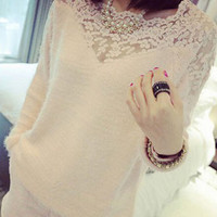 Floral Crochet Patchwork Fur Knitted Pullover
