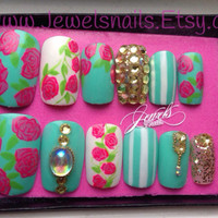 Pink Roses ,Swarovski, Spring / Summer False nails, Press on Nails, Full Nails, Fake nails Gel NAIL ART