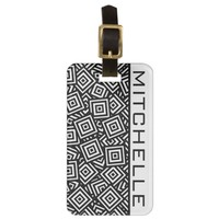 Personalized Square Pile BW Bag Tag
