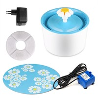 Electric Flower Pet Fountain 1.6l Automatic Dog Cat Water Feeder Drinking Bowl Pet Drink Cat Water Dispenser Blue Green