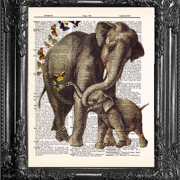 Vintage Dictionary Print Vintage Book Home dorm wall decor Upcycled MAMA ELEPHANT A Vintage Dictionary Art Print Vintage Book Print Page Art