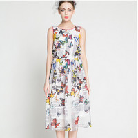 Newspaper Butterfly Print Semi-Pleated Maxi Dress