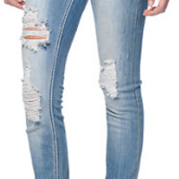 Almost Famous Alba Light Wash Distressed Skinny Jeans