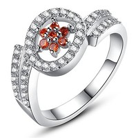 Red Flower Upper with AAA High Quality CZ Rhodium Plated Ring JDP 0618