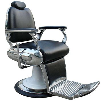 Black Barber Chair With Heavy Duty Base And Chrome Frames