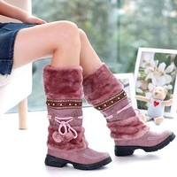Warm Winter Snow Boots For Women waterproof kneeboots fashion ladues Lace Up Fur Lined Flat Knee-High rainboots Casual Shoes