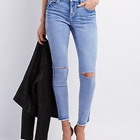 "REFUGE ""ANKLE SKINNY"" SLIT KNEE JEANS"