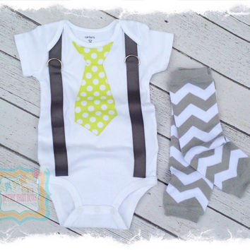 Lime Green with White Polka Dots Tie with Suspenders Bodysuit Set-Tie Applique with Suspenders-Boys Birthday Outfit-Baby Boy Clothes