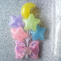 On Secret Wings | Fairy Kei Carnival - Pastel Moon and Star Balloon Hair Clip II | Online Store Powered by Storenvy