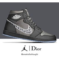 Dior x Nike Air Jordan 1 High OG Sneakers Shoes