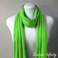 "Lime Green  Infinity Scarf in Soft Jersey  Knit  - Long Modern Circle Scarves - 7"" W  X  72"" L"