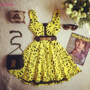 2016 Woman Sexy Dresses Night Club floral Print Sleeveless Roupas De Praiai Tank V-neck Summer vintage Dreses Vestido De Festa