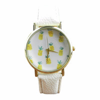 White Vegan Leather Pineapple Face Watch