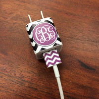 iphone or ipod Vine Monogram Charger and USB Wrap - Chevron - Customizable