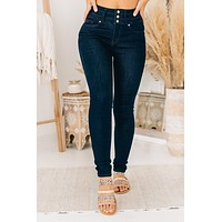 Chances Are Triple Button KanCan Jeans (Dark Wash)