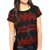 Short Sleeve High Low Tee with Aztec Print Front