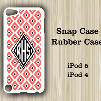Geometric Red Pattern Monogram iPod Touch 5 and iPod Touch 4 Rubber Case or Plastic Case