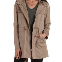 Tan Longline Hooded Anorak Jacket by Charlotte Russe