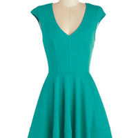ModCloth Mid-length Cap Sleeves A-line Curtsy for Yourself Dress in Teal