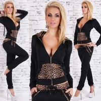 New Arrival Woman Tracksuits Hoodies Sweatshirts Pullover With Leopard Print Hoodies Sport Suits For Women Jogging Suits = 5710908353