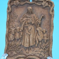 Jesus The Sheppard Small Hanging Plaque Vintage Jesus With Sheep Religious Art Faux Wood Carved Relief Religious Icon Religious Art