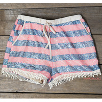 Out To Lunch Blue And Pink Sequin Crochet Shorts