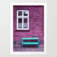 bench in autumn colors Art Print by Steffi Louis Finds&art