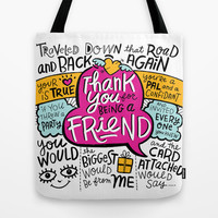 Thank You for Being a Friend Tote Bag by Gigglebox