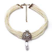Party Dazzle Noble Multilayer Beads Chain Romantic Choker Necklace Simulated Pearl Necklace  Fashion Jewelry