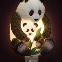 Ibis Orchid Design Panda Bear Mother and Cub Night Light
