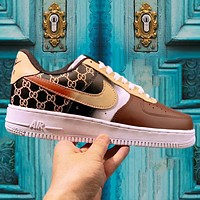 Onewel Nike Air Force 1 Low X Gucci creative joint graffiti Air Force One classic sneakers coffee