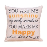 """Onker Cotton Linen Square Decorative Throw Pillow Case Cushion Cover 18"""" x 18"""" You Are My Sunshine"""