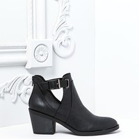 Plus Size Clothing | Leatherette Cut Out Buckle Strap Booties | Debshops