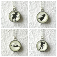 Peter Pan Wendy and Tinker Bell Shadows Double Sided Petite Necklace - Inspired from Disney's Peter Pan PICK Your two faves