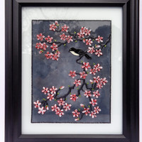 """Cherry blossom art 12""""x10"""" Glass painting Wall decor Painted glass"""