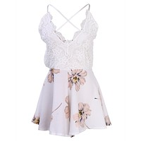 Summer Lace Halter V Neck Floral Playsuit Sexy Shorts Rompers Womens Overall Jumpsuits macacao feminino