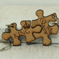 Puzzle Piece key chains King and Queen Natural leather
