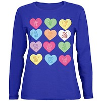 Valentine's Day - Candy Hearts Womens Long Sleeve T Shirt