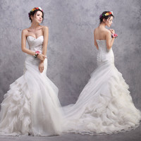 Mermaid Sweetheart Strapless Court Train Organza Tiered Sequined Wedding Dress # 6009878