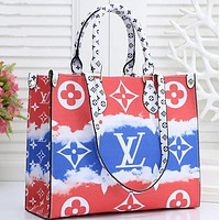 Louis Vuitton LV 2020 summer gradual tie dye printing big print hand bag Red