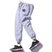 Champion' Women Men Fashion Embroidering Print Sport Stretch Pants Trousers Sweatpants Black