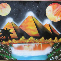 large pyramid galaxy spray paint art,egyptian art,egyptian decor,galaxy decor,space wall art, kids room decor,gift for mom,poster,city scape