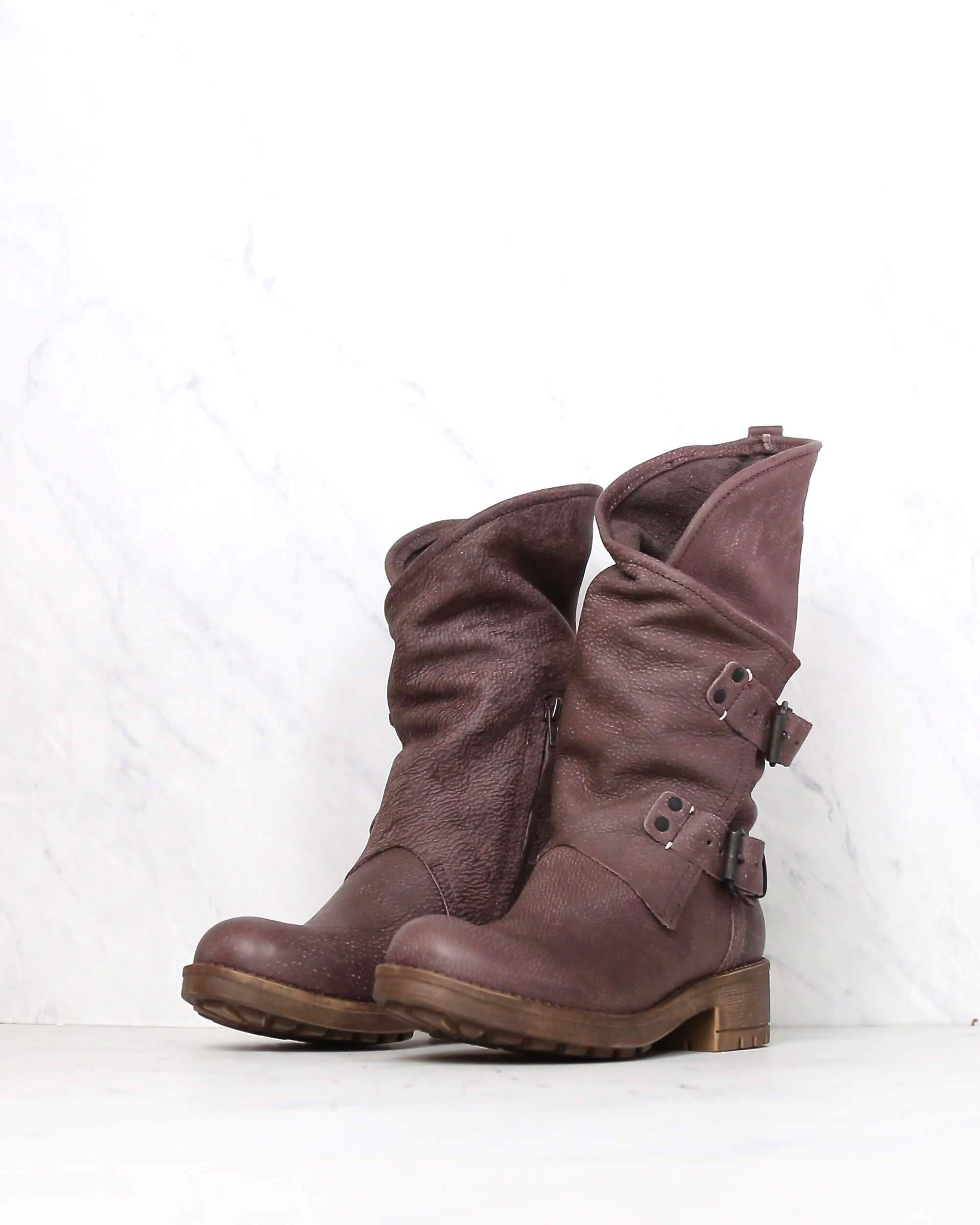 Image of Coolway - Alida Leather Motorcycle Boots in Dark Brown