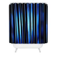 Madart Inc. Black Stripes Blue Passion Shower Curtain