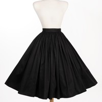 Jenny Gathered Full Skirt in Black Sateen | Pinup Girl Clothing