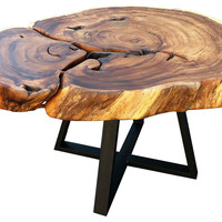 One Kings Lane - Into the Woods - Apple Dining Table, Natural/Dark Iron