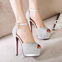 Summer Design Stylish Sexy High Heel Club Peep Toe Shoes Double-layered Sandals [6044951489]