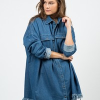 Fringed Denim Boyfriend Shirt