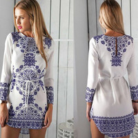 Tile Print Long Sleeve Autumn Dress