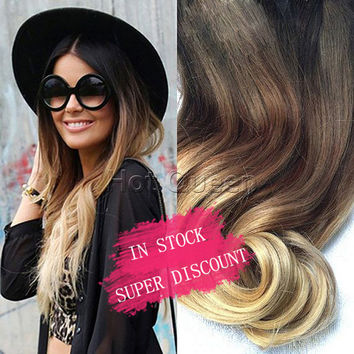 Hot Queen Brown&Blonde Ombre Human Hair Extensions 7pcs Set 70 g 5A Brazilian Wavy Remy Clip In Human Hair Extensions In Stock